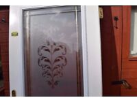 composite door and glass panel in white