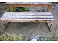 Weathered wooden garden bench