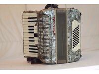 German piano accordion Manuela with 40 bass. Silver