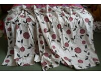 2x Pairs of Cream with Red Flowers Curtains - Approx 60 Inches x 60 Inches each curtain.