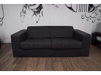 Compact 3 Seater Fabric Sofa - Charcoal / Dark Grey