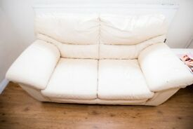 Cream leather sofa/collection from newhaven