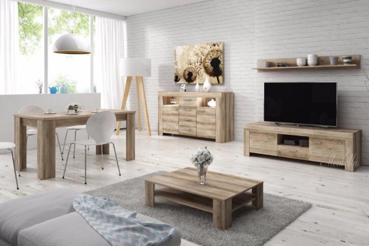 Compleet Woonkamer Meubels : Complete woonkamer grijs eiken inboedel set meubelen