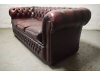 oxblood chesterfield three seater sofa (DELIVERY AVAILABLE)