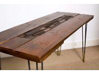 Handmade Rustic Hairpin Leg Table / Desk - Reclaimed Timber