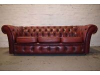 Antique Red Chesterfield Three Seater Sofa (DELIVERY AVAILABLE)