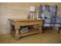 Rustic solid waxed pine wood coffee table with shelf. media unit