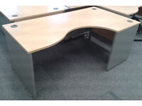 Beech effect L shaped curved desks