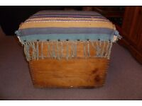 Rustic Wooden Chest Trunk Blanket Box Seat Antique Pine