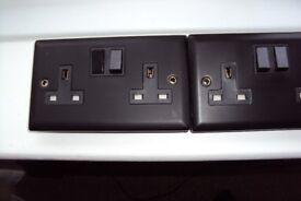 5 black matt double plug sockets - 2 are brand new