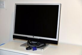 V7 22 inch Widescreen LCD Monitor 5ms Built In Speakers Silver & Black - in VGC