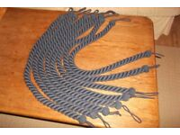 8x Curtain tie backs, blue rope, 1m long each