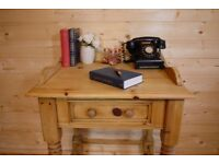 Rustic solid waxed pine console dressing table sideboard writing desk wash stand