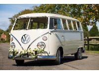VW Split Screen Camper Wedding Hire - Offering a vehicle hire service to enhance your special day.