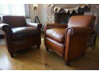 Laura Ashley PAIR of Burlington leather armchairs
