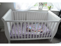Lincoln Sleigh Cot Bed + John Lewis changing station + matterss, and bedding