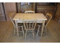 Farmhouse rustic solid waxed pine table and chairs x 4 lovely old elm/beech