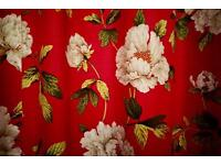 Dark Pink Floral Curtains