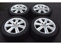 17'' audi a4 se 7 spoke alloy wheels and tyres genuine original 5x112 b8