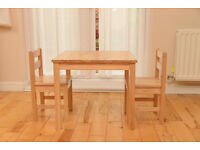 Children's wooden table and 2 chairs from John Lewis