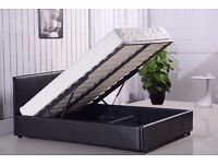 """""""70% OFF"""": Double Gas Lift Ottoman Storage Bed £129, w/ 10inch Thick Royal Orthopedic Mattress £209"""