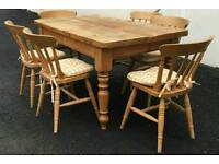 Vintage solid pine country cottage style dining table