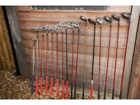 Set of Maxfli clubs, including driver, 3 woods, 9 irons, bag and sundry items