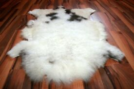 New Organic Sheepskin Rug White With Spots