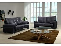 Fix sofa 3 and 2 seater in chocolate/dark brown or black faux leather