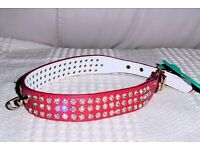 BRAND NEW Red Diamante Dog Collar for Medium Dog, 2 Available, Histon