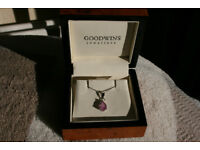 9ct white gold pink sapphire pear drop pendant and chain 18 Inches (with box)