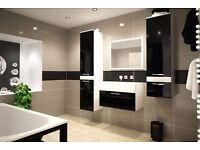 Delivery 1-3 days Brand New VANESSY Bathroom Furniture SET BLACK WHITE HIGH GLOSS