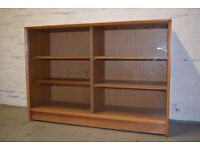 Teak bookcase with glass sliding doors (DELIVERY AVAILABLE)