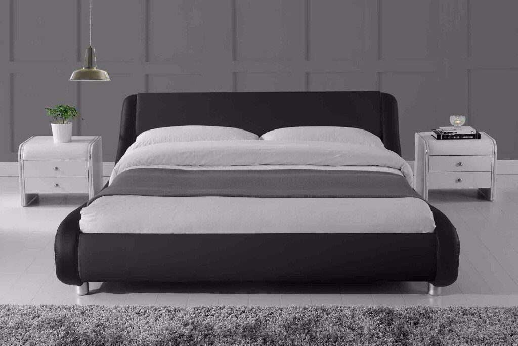 Black Faux Leather double bed frame in good