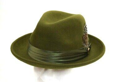 Aussie Wool - Men's Fedora Dress Hat Solid Olive Green UN-111 100% Australian Wool S, M, L, XL