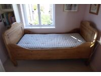 Antique pine wooden slatted sleigh bed with hand made mattress (in great condition).
