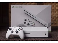 Xbox One S white with two games, controller, boxed mint.