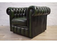 Antique Green Leather Chesterfield Club Chair (DELIVERY AVAILABLE)