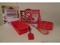 Baking Set: Red Cookware, Recipe Book Stand and 2 Bake Off Books