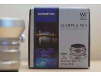 Olympus Lens 17mm f1.8 Micro 43 with premium lens hood