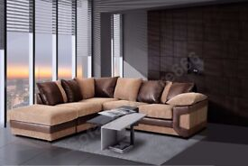 *COME AND VIEW IT ,TRY IT THEN BUY IT* BRAND NEW DINO JUMBO CORD CORNER SOFA BROWN/BEIGE FABRIC LH