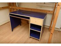 """used Ikea """"Robin"""" computer desk with slide-out keyboard tray, blue"""