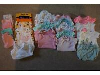 22x piece girls 0-3 month tops and bottoms clothing bundle