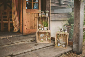 Rustic Wedding Decoration wooden crates, confetti crate holder