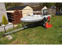 3.4m Avon RIB with Snipe trailer and 25hp Suzuki 2 stroke outboard