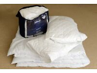 **ALMOST NEW** DOUBLE DUVET-MATTRESS TOPPER-TWO PILLOWS AND PILLOW PROTECTORS £40