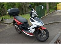 Kymco Super 8 50cc Scooter, 40+ mph with back box, helmet, boots and jacket