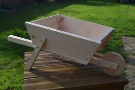 Handmade Wooden Wheelbarrow Planter