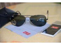 Authentic Ray Ban Aviator Sunglasses Green Lens