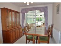Ducal cherrywood refectory table & 6 chairs plus display cabinet/dresser